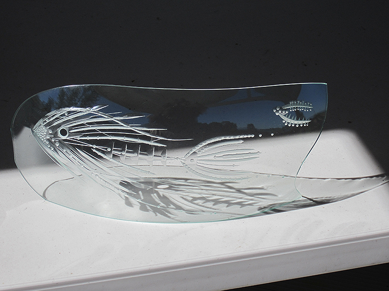 Deep Water- engraved, coldworked and slumped float glass