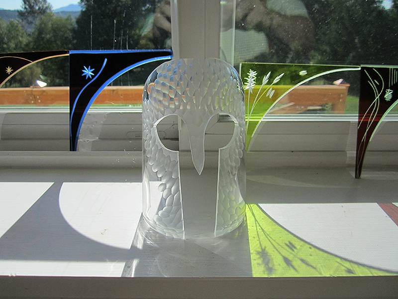 Untitled glass mask- Battuto engraving on cut & ground bottle glass